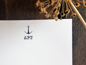 Personalized Flat Cards, Monogram Flat Note Cards / Nautical Anchor / Personalized stationary set / Monogrammed Stationery / Custom Gift / Anchor