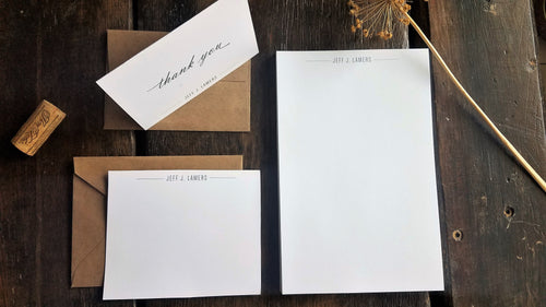 Personalized Modern stationary set / Memo Pad / Flat Cards / Thank You Cards / Stationery Set / Groomsmen gift / Personalized stationery