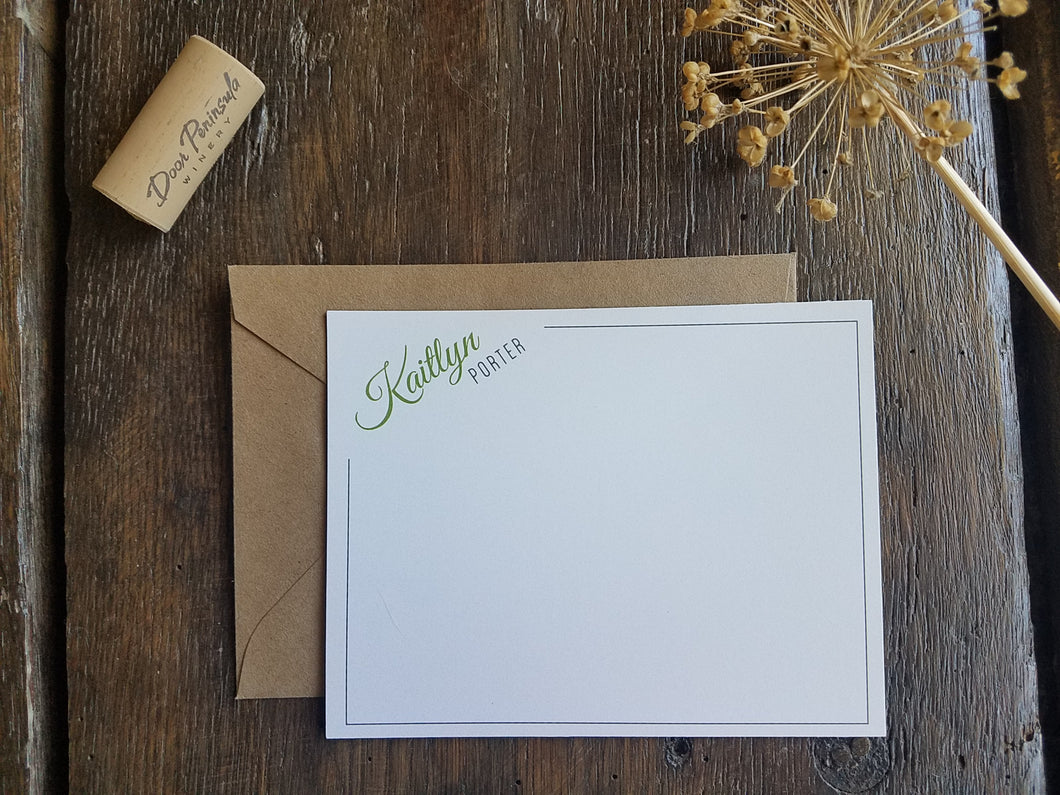 Personalized Flat Cards / Modern Flat Note Cards / Personalized stationary set / Bridesmaid Groomsmen gift / Modern Stationery