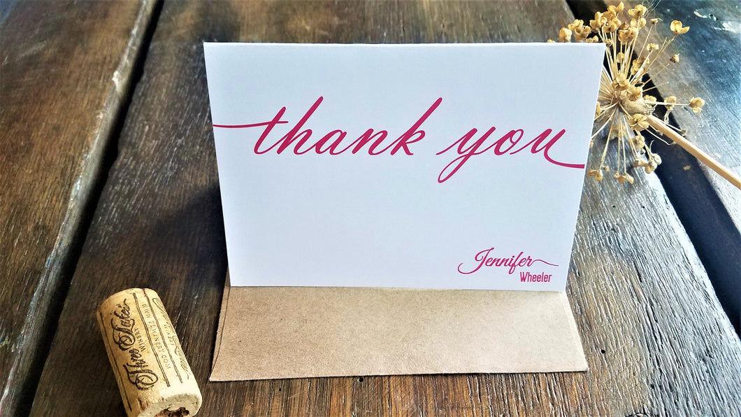 Personalized Note Cards / Calligraphy Folded Note Cards / Personalized Thank You Cards / Personalized stationary set / Monogram gift / Script