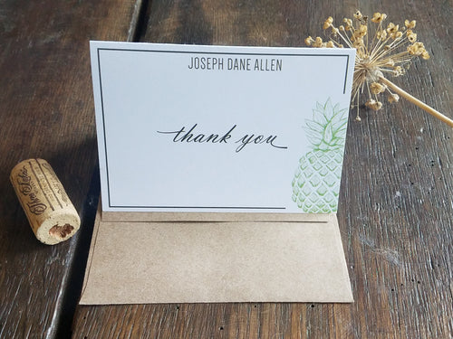 Personalized Note Cards / Pineapple Folded Note Cards / Personalized Thank You Cards / Personalized stationary set / Monogram Stationary