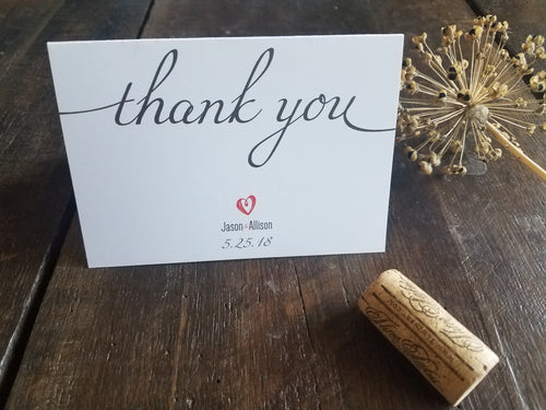 Wedding Thank You Notes / Personalized Wedding stationery / Wedding Thank You Cards / Wedding Heart / Wedding Personalized Stationery / Custom Stationary