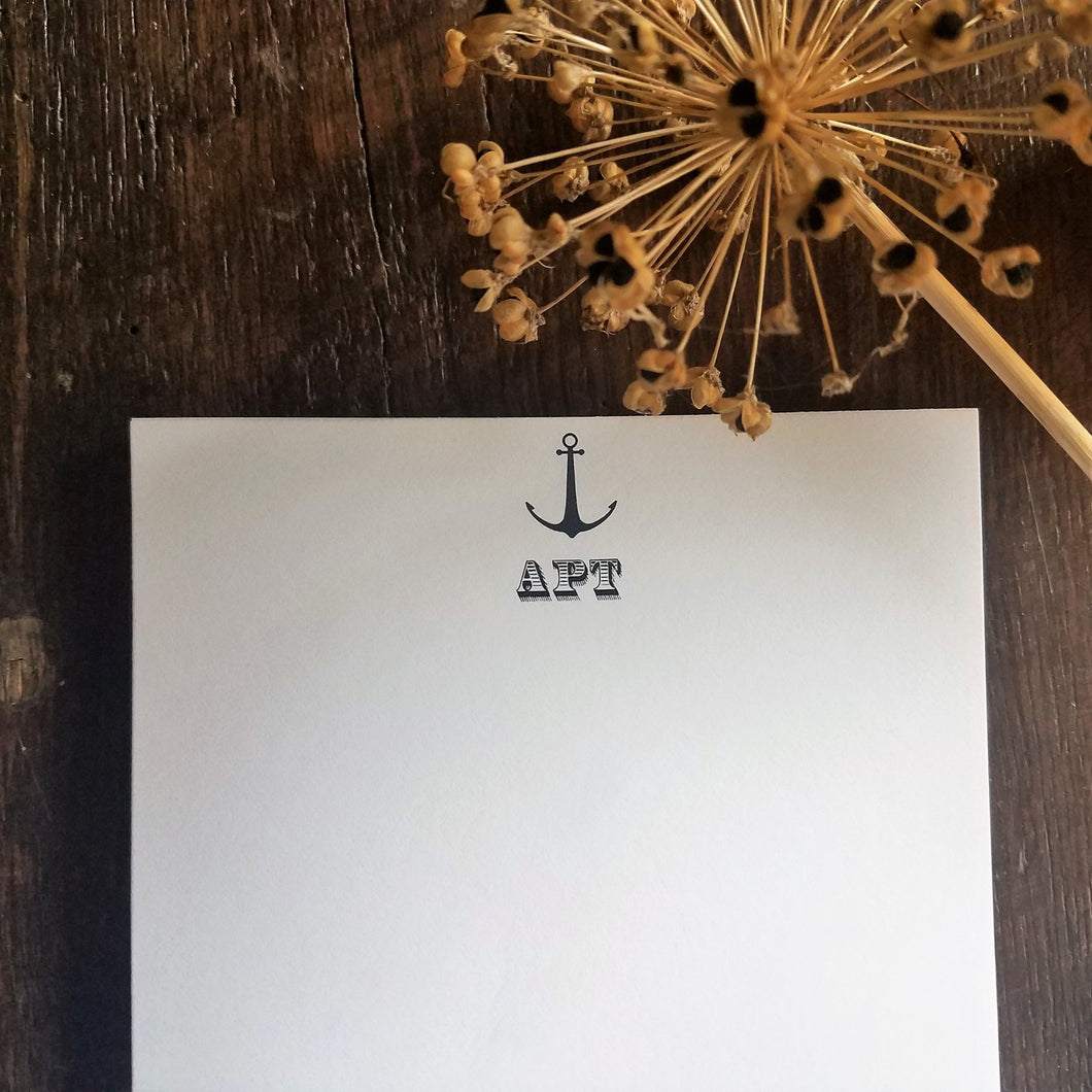 Monogram stationary / Memo Pad / Monogrammed / personalized Note Pad stationery / Nautical Theme / Anchor / Personalized Gift / Custom Gift