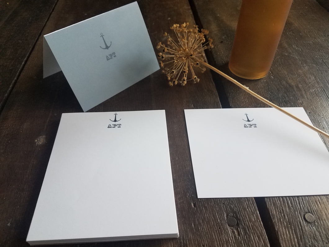 Monogram Anchor stationary set / Memo Pad / Flat Cards / Thank You Cards / Stationery Set / Monogrammed Nautical personalized stationery