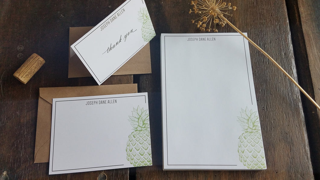 Personalized Pineapple stationary set - Memo Pad / Flat Cards / Thank You Cards / Stationery Set / Modern pineapple personalized stationery