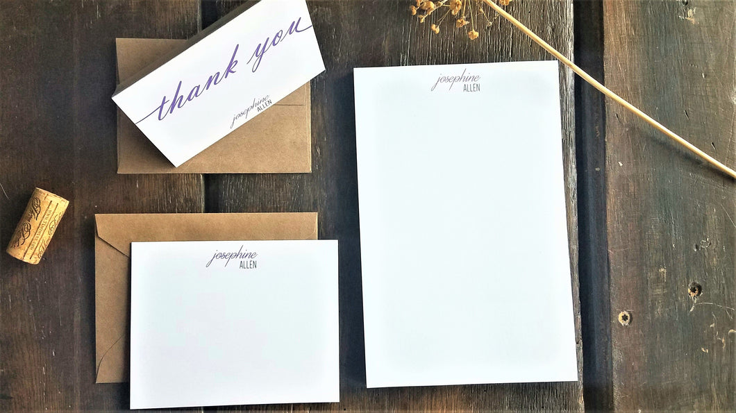 Personalized Classic stationary set / Memo Pad / Flat Cards / Thank You Cards / Stationery Set / Groomsmen gift / Personalized stationery