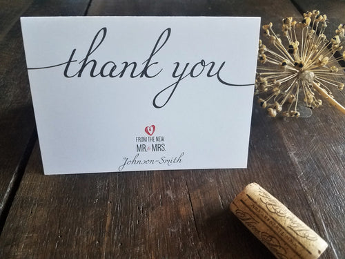 Wedding Thank You Notes / Wedding stationery / Wedding Thank You Cards / Wedding Heart / Wedding Personalized Stationery / Custom Stationary