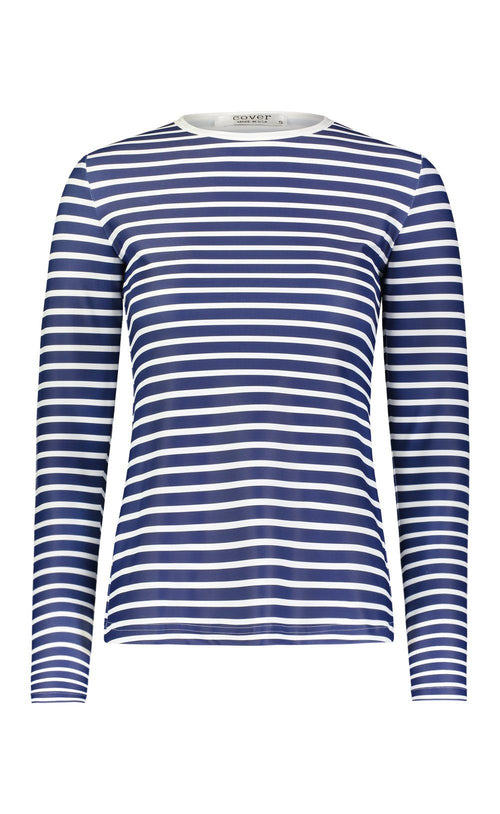 Long-Sleeved Swim T - Navy Stripes