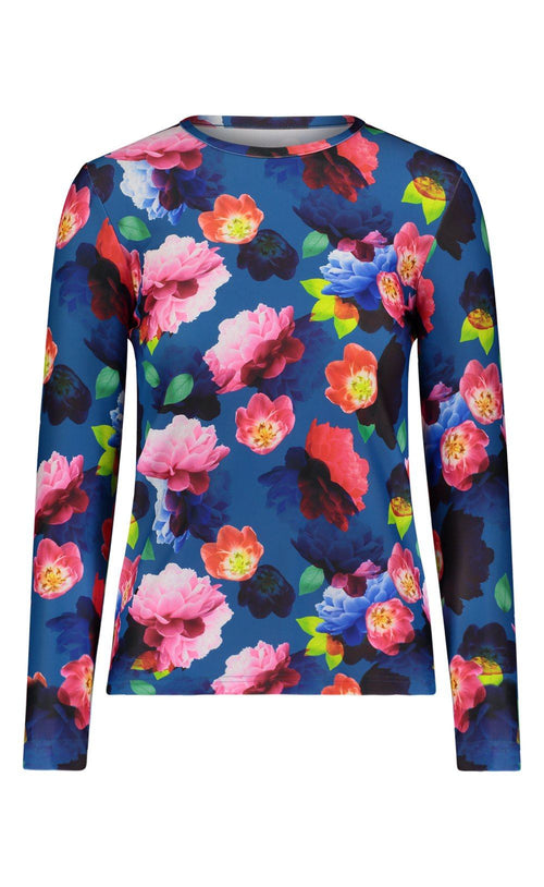 Long-Sleeved Swim T - Blue French Floral