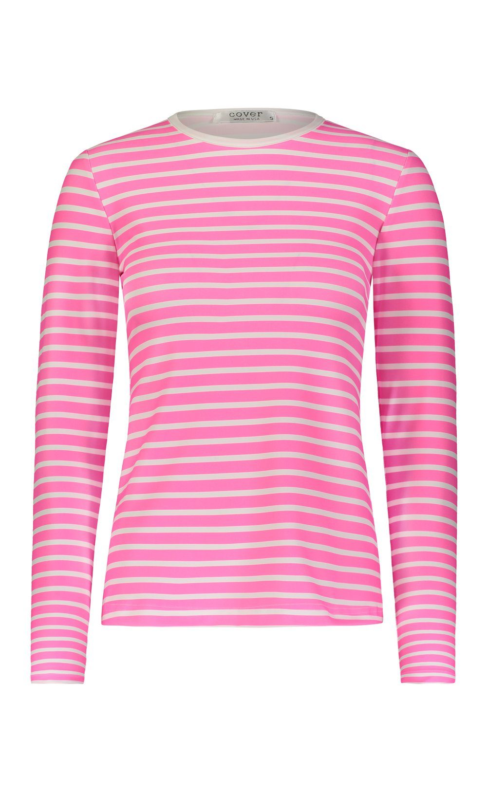 Long-Sleeved Swim T - Neon Pink Stripes
