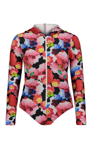 Long-Sleeved Swimsuit - Black Floral