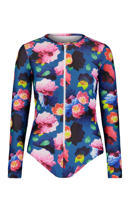 Long-Sleeved Front Zip Swimsuit - Blue French Floral
