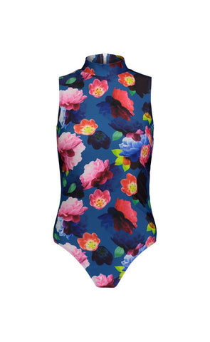 Short-Sleeved Swimsuit - Blue Floral