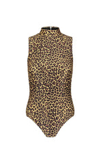 Sleeveless High-Neck Swimsuit - Leopard