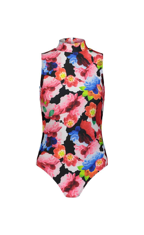 Sleeveless High-Neck Swimsuit - Black French Floral