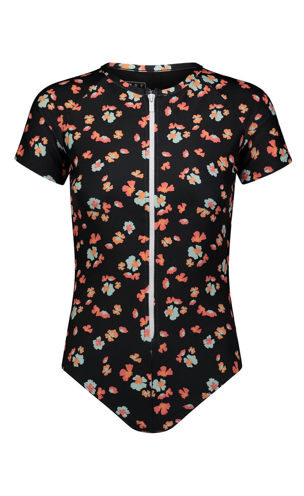 Short-Sleeved Swimsuit - Black Floral