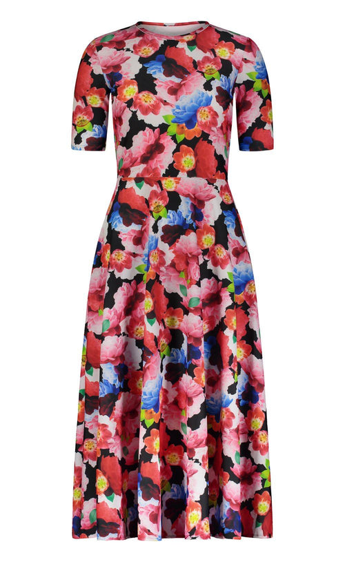 Elbow Sleeve Dress - Black French Floral