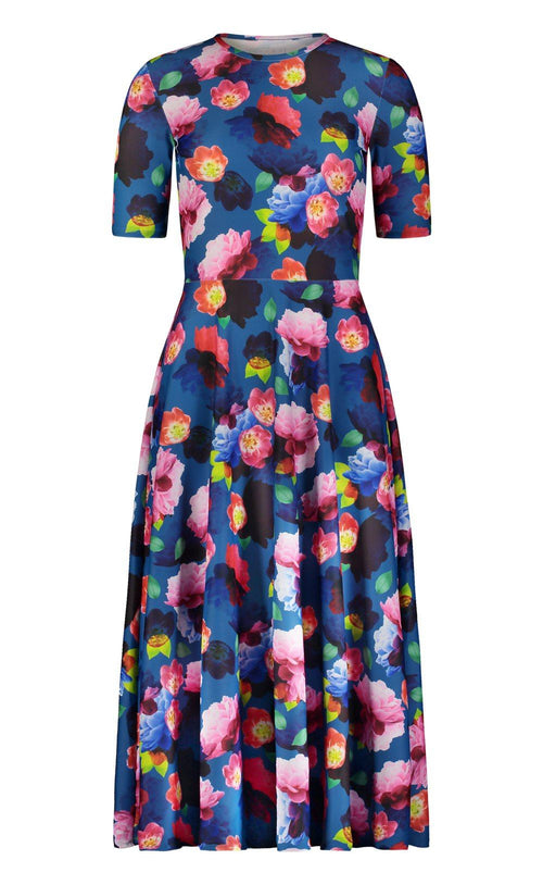 Elbow Sleeve Dress - Blue French Floral