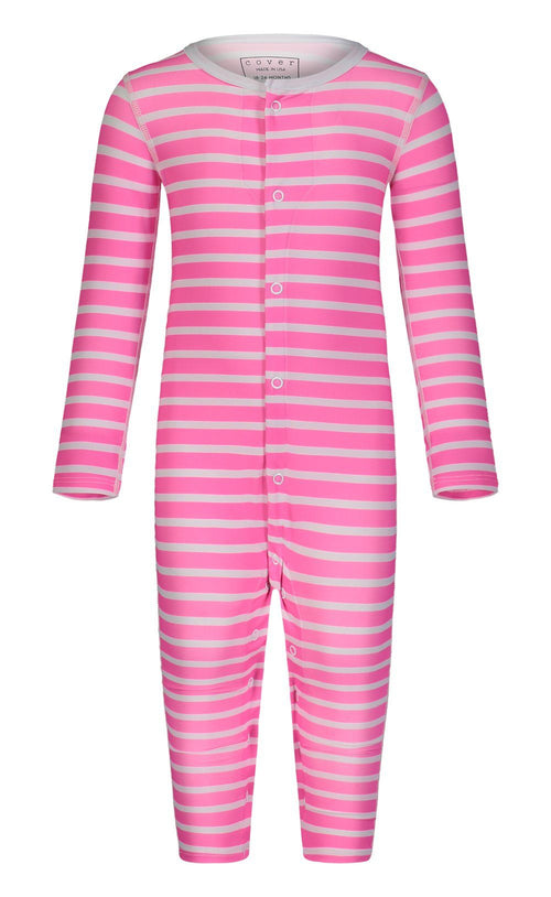 Cover Babies - Neon Pink Stripes Full-Leg Baby Bodysuit