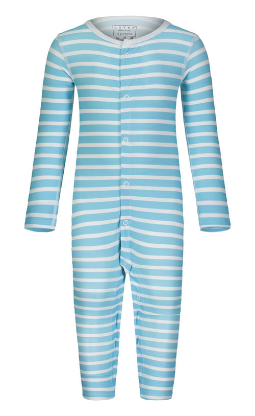 Cover Babies - Baby Blue Stripes Full-Leg Baby Bodysuit