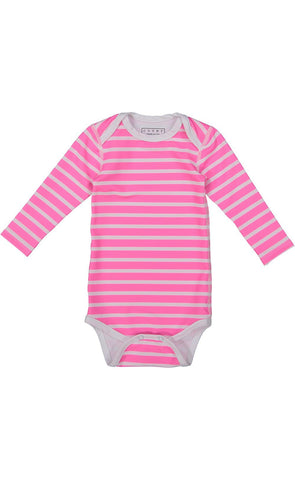 Short-Sleeved Swimsuit - Neon Pink Stripes