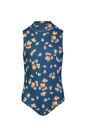Long-Sleeved Hooded Front-Zip Swimsuit - Blue French Floral