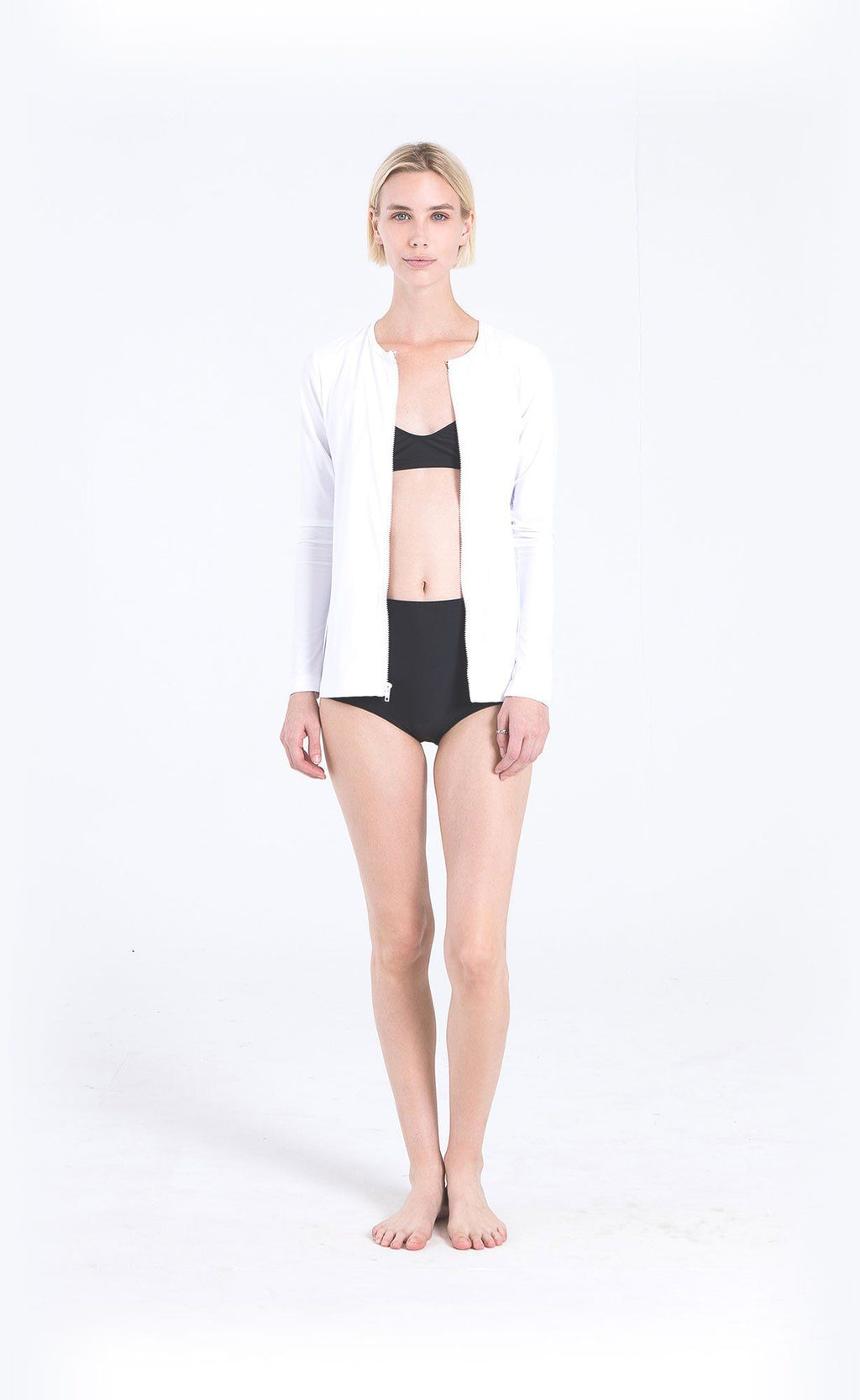 Long-Sleeved Front Zip Swim Cardigan - Cover Swim