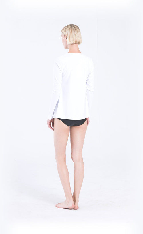 Long-Sleeved Front Zip Swim T - White