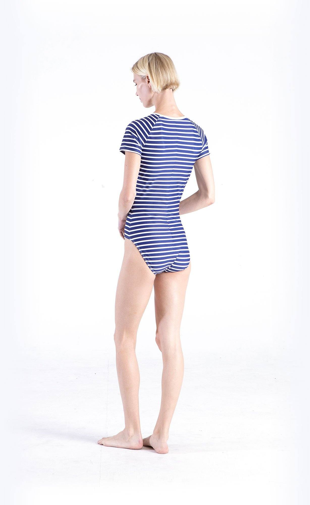 Short-Sleeved Swimsuit - Navy Stripes