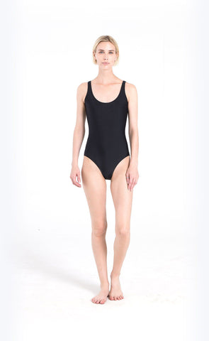 Sleeveless High-Neck Swimsuit - Navy