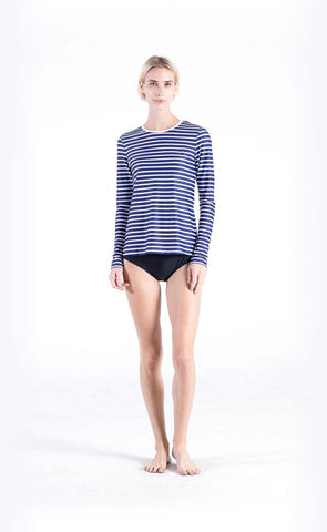 Short-Sleeved Swimsuit - Baby Blue Stripes