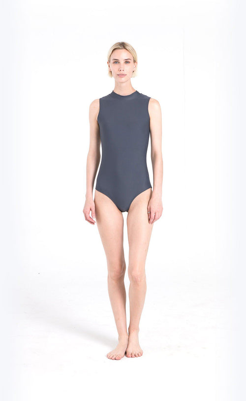 Sleeveless High-Neck Swimsuit - Grey