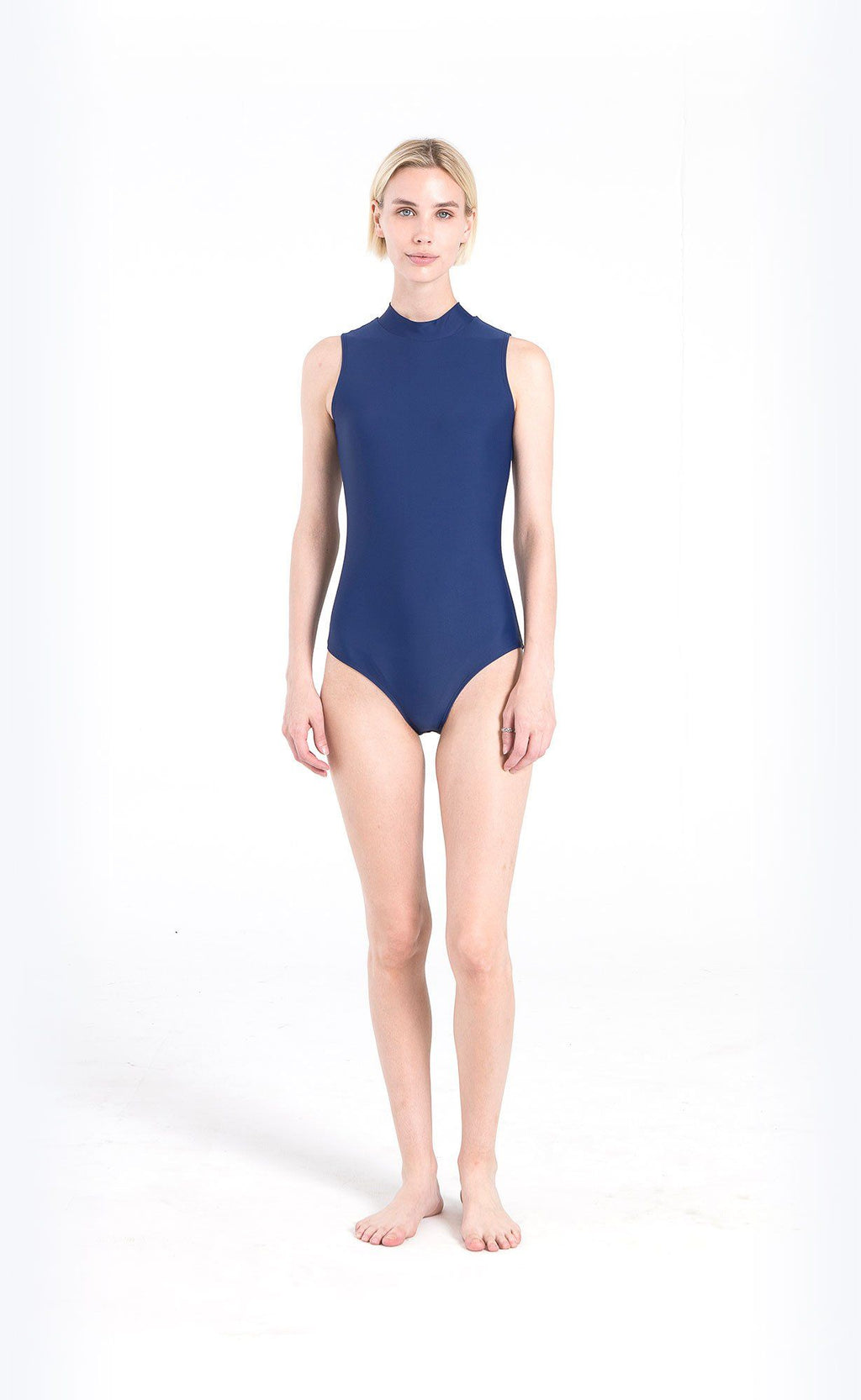 Sleeveless Mock-Neck Swimsuit One-Piece Cover Clothing
