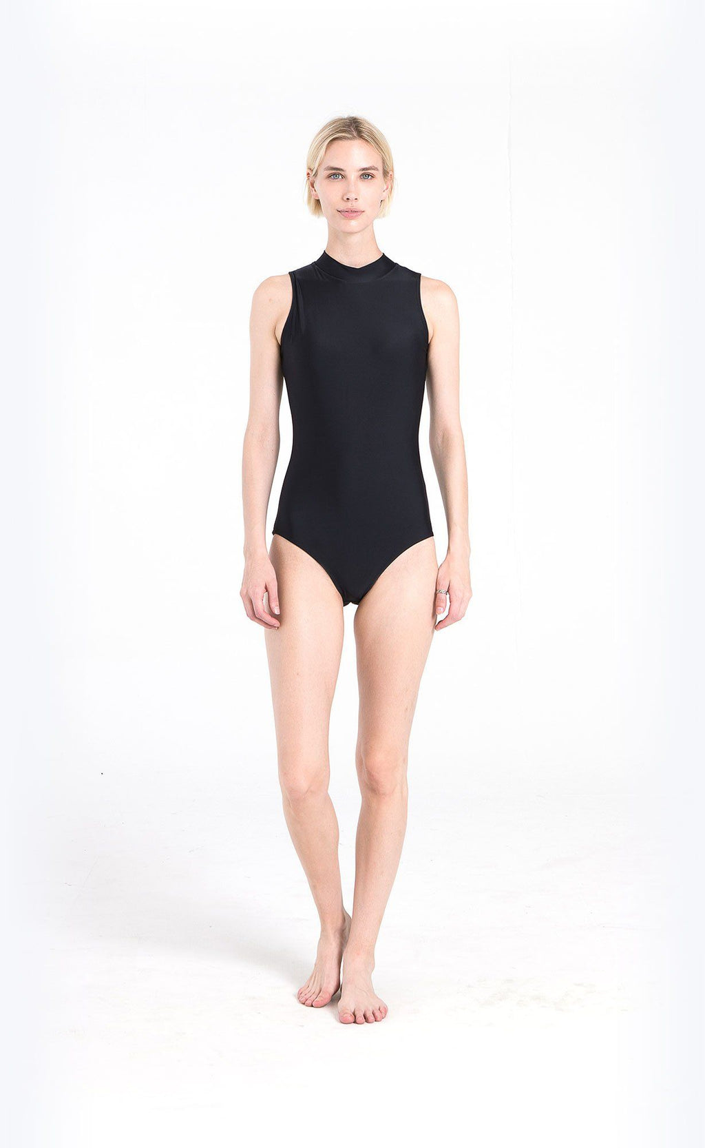 Sleeveless Mock-Neck Swimsuit - Cover