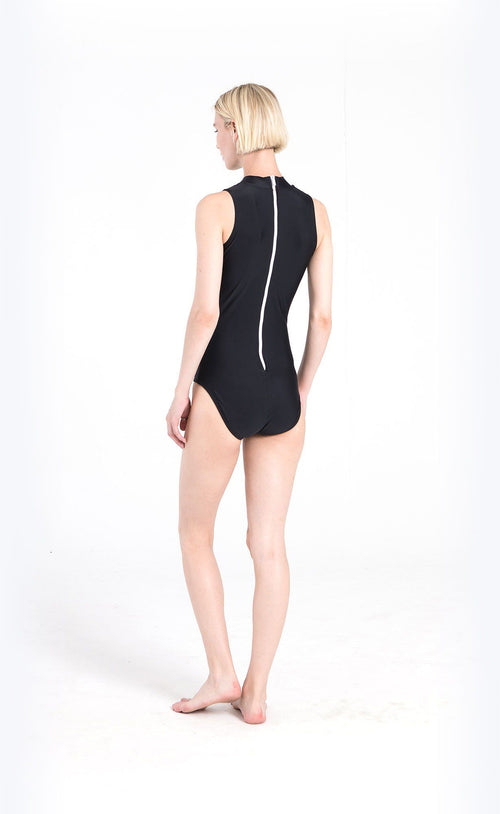 Sleeveless High-Neck Swimsuit - Black