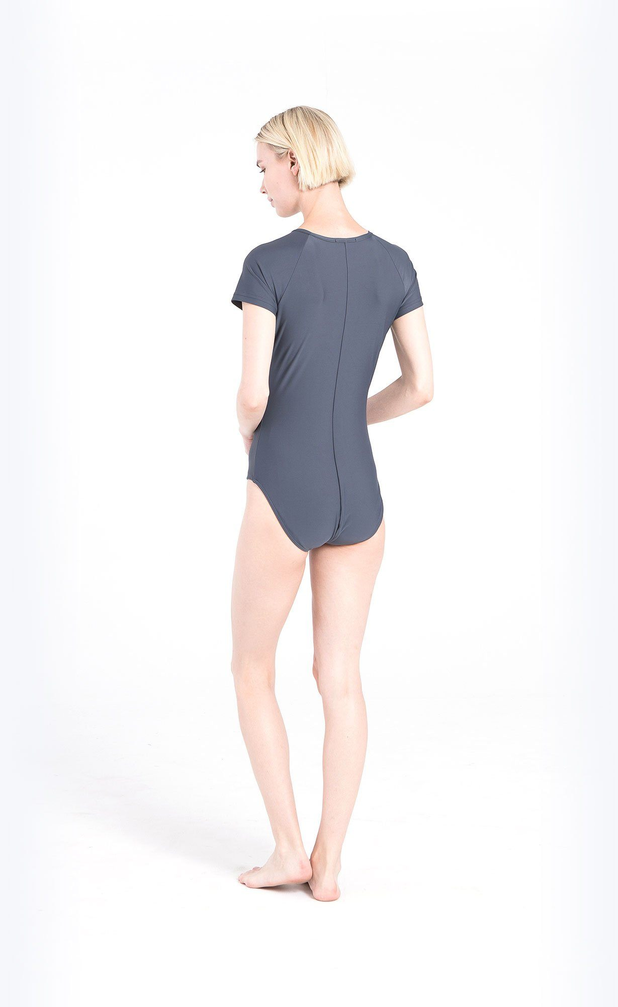 Short-Sleeved Swimsuit - Grey