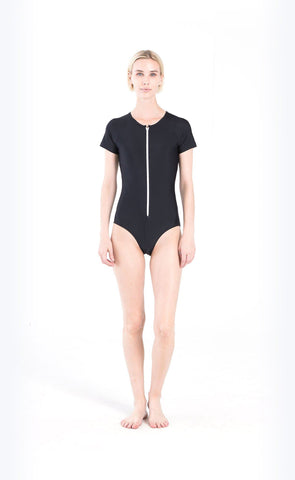 Long-Sleeved High-Neck Swimsuit - Black