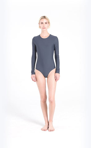 Long-Sleeved Swimsuit - White Mesh + Swim Belt - Black