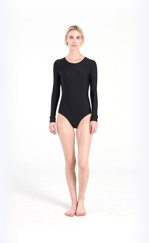 Long-Sleeved Hooded Front-Zip Swimsuit - Army