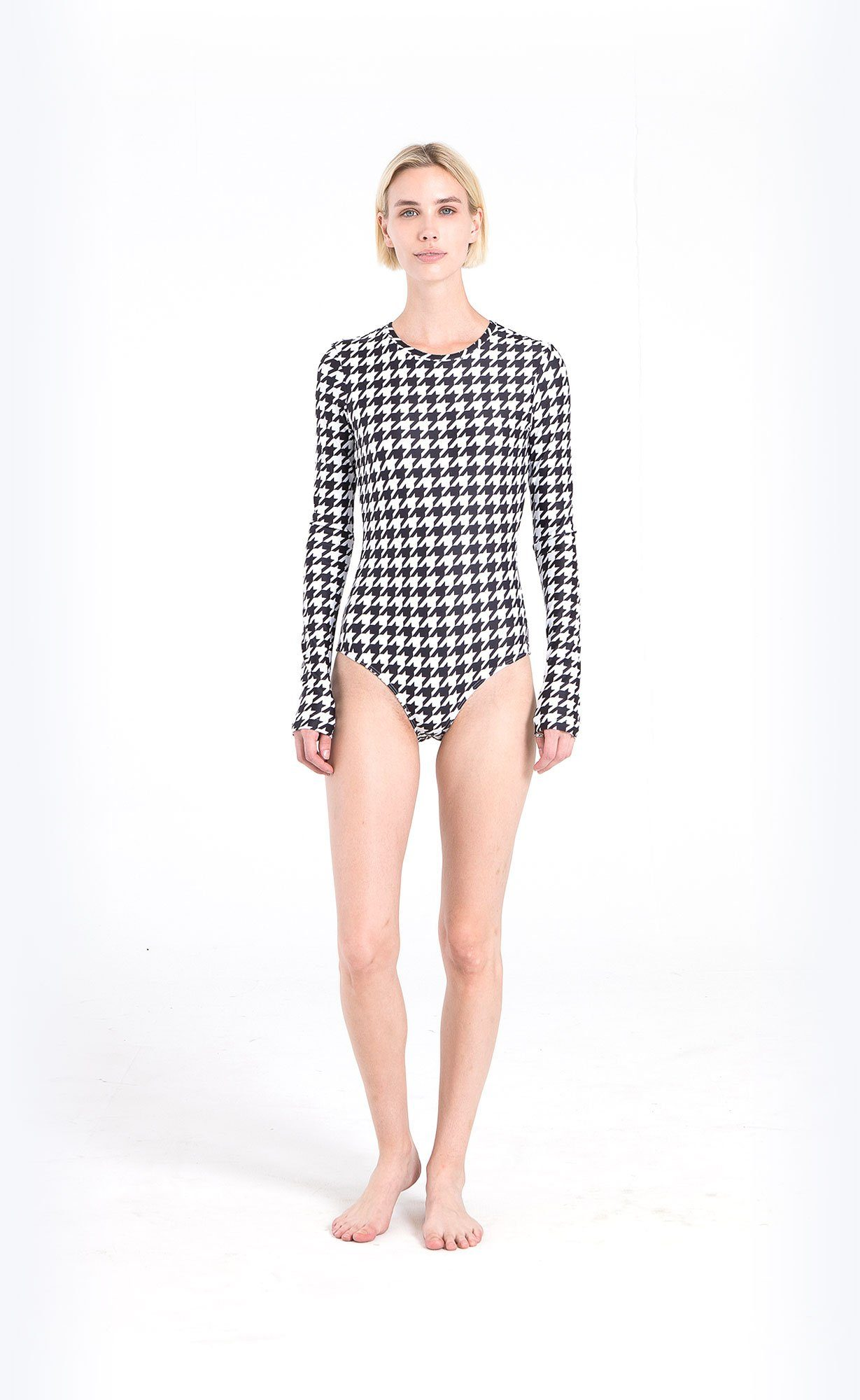 Long-Sleeved Swimsuit - Houndstooth