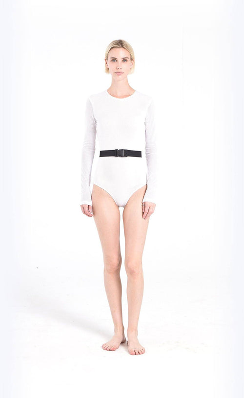 Long-Sleeved Swimsuit - White Mesh