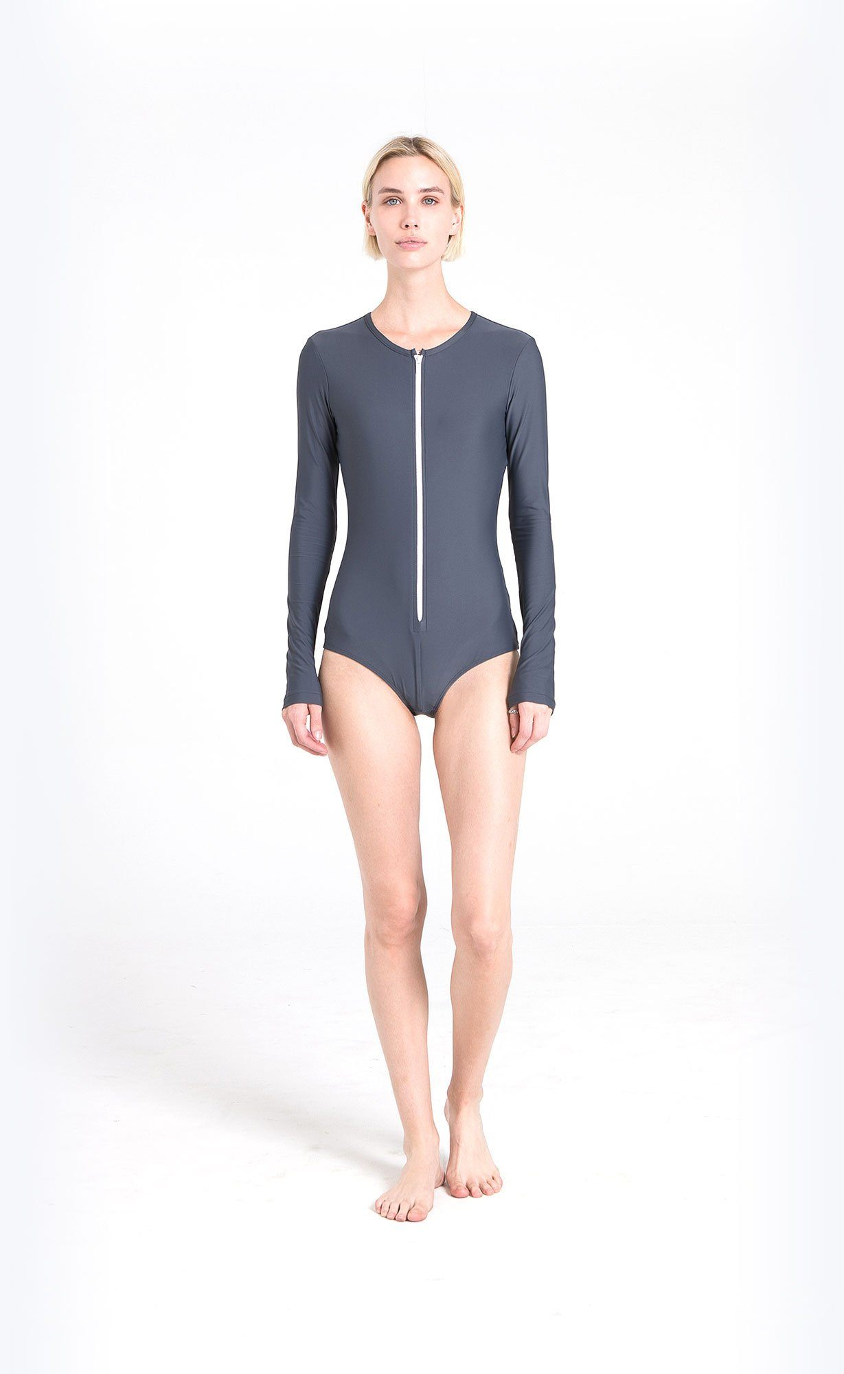 Long-Sleeved Front Zip Swimsuit - Grey