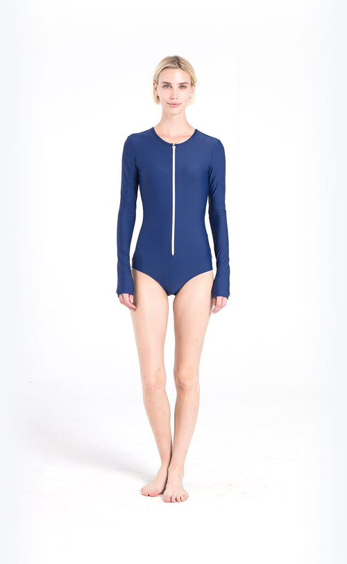 Long-Sleeved Front Zip Swimsuit - Navy