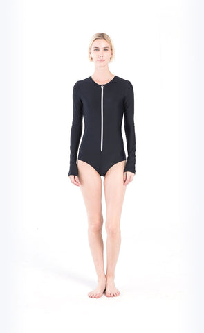 Long-Sleeved Swimsuit - Navy Stripes