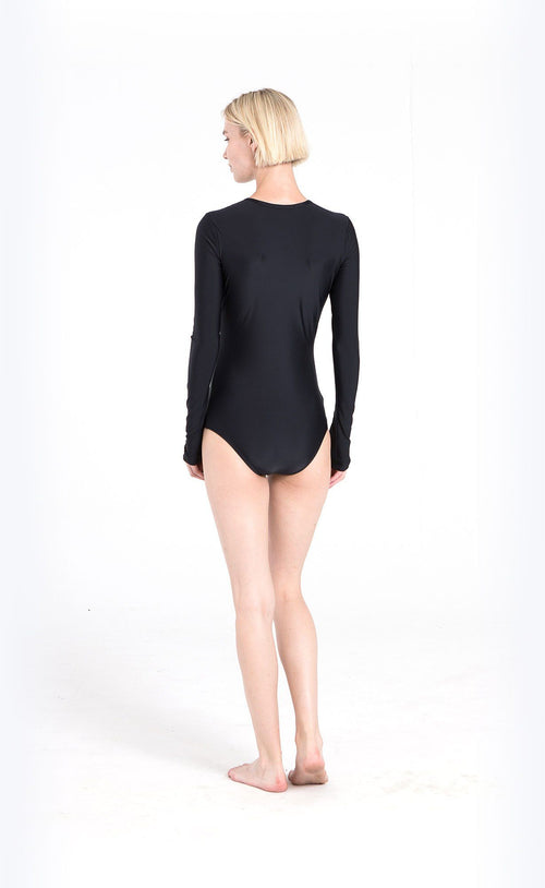 Long-Sleeved Front Zip Swimsuit - Black
