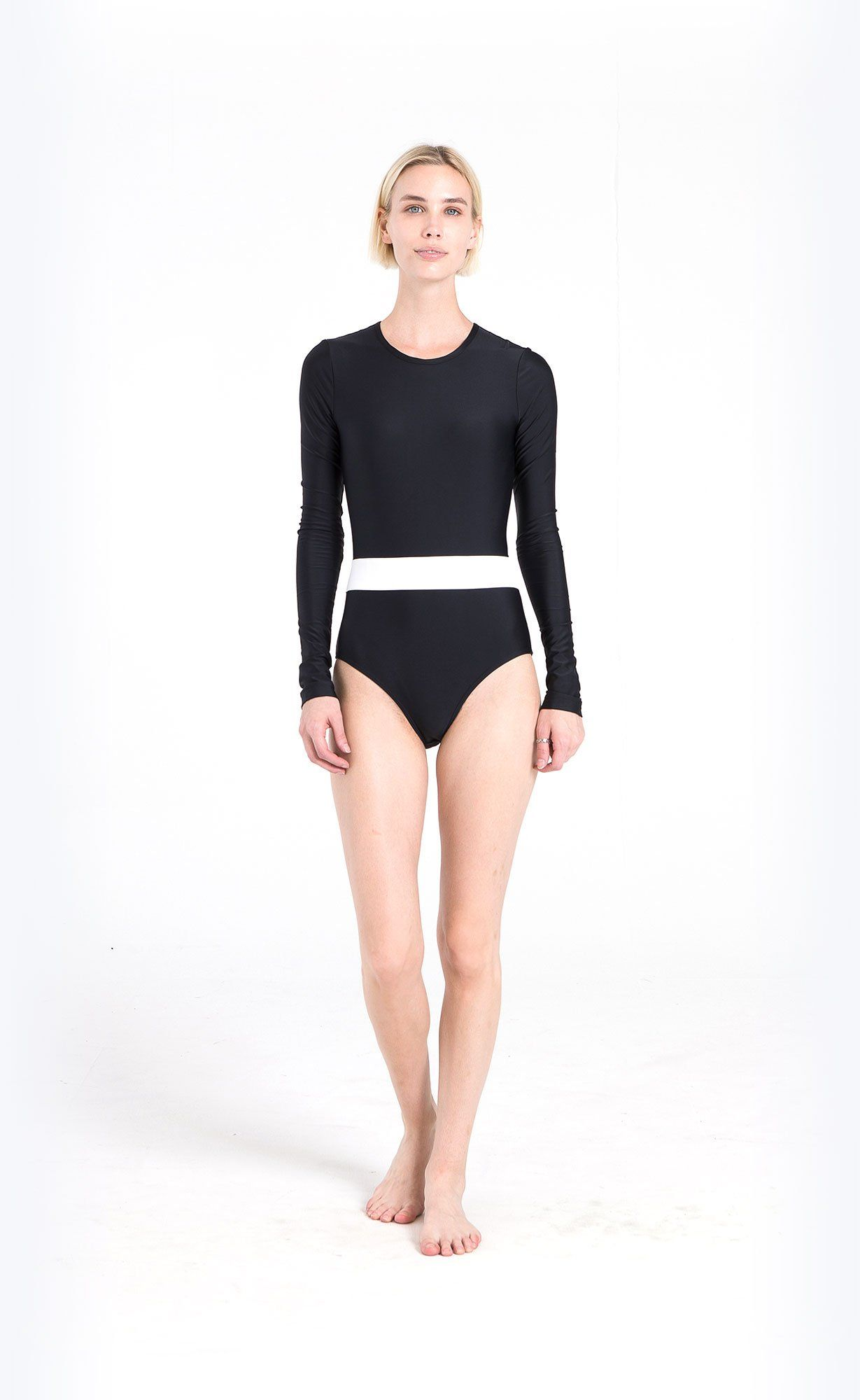 Long-Sleeved Horizontal Stripe Swimsuit - Black/White