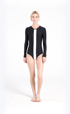 Long-Sleeved Hooded Front-Zip Swimsuit - Black