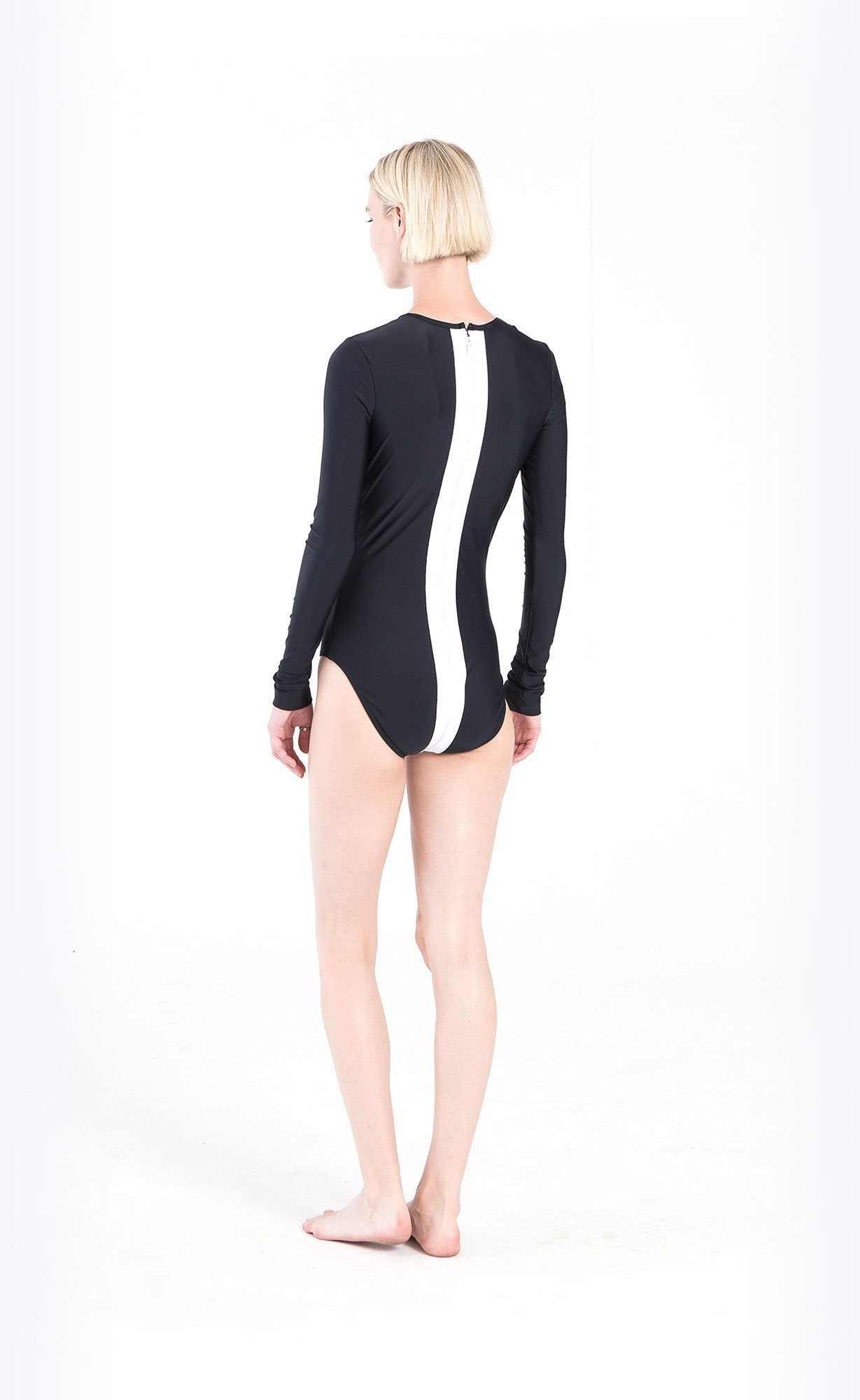 Long-Sleeved Vertical Stripe Swimsuit - Black/White