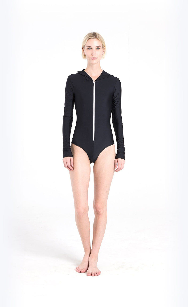 Long-Sleeved Hooded Front-Zip Swimsuit - Cover