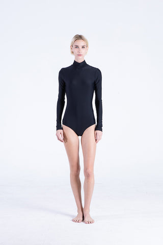 Long-Sleeved Front Zip Swimsuit - Houndstooth
